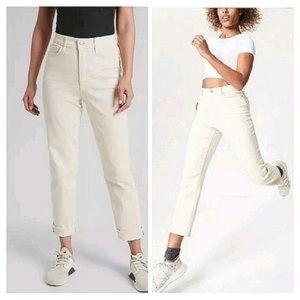 Athleta Cream/Yellowish Straight Leg Jeans